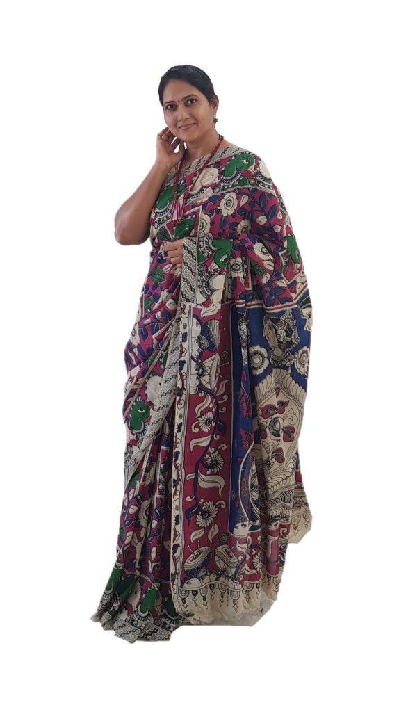Kalamkari Print Cotton Silk Floral Swan Design Saree DarkPink Green : Details
