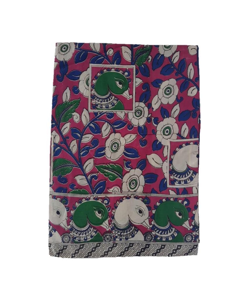 Kalamkari Print Cotton Silk Floral Swan Design Saree DarkPink Green : Picture