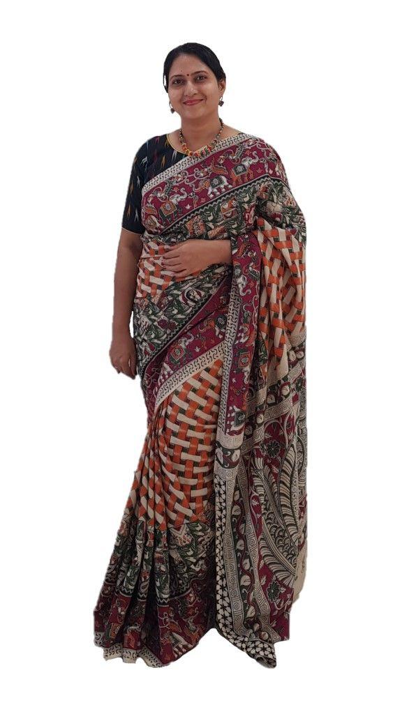 Kalamkari Print Cotton Silk Striped Design Saree OffWhite Orange : Details