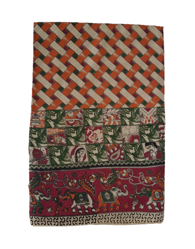 Kalamkari Print Cotton Silk Striped Design Saree OffWhite Orange : Picture
