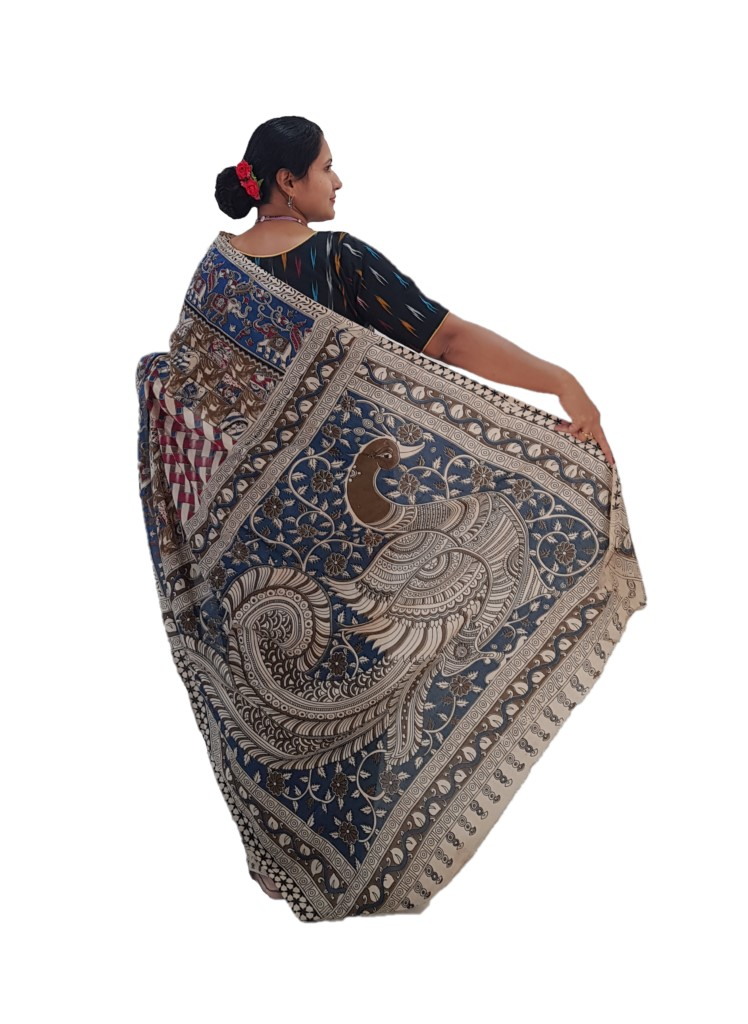 Kalamkari Print Cotton Silk Striped Design Saree OffWhite Pink : Picture