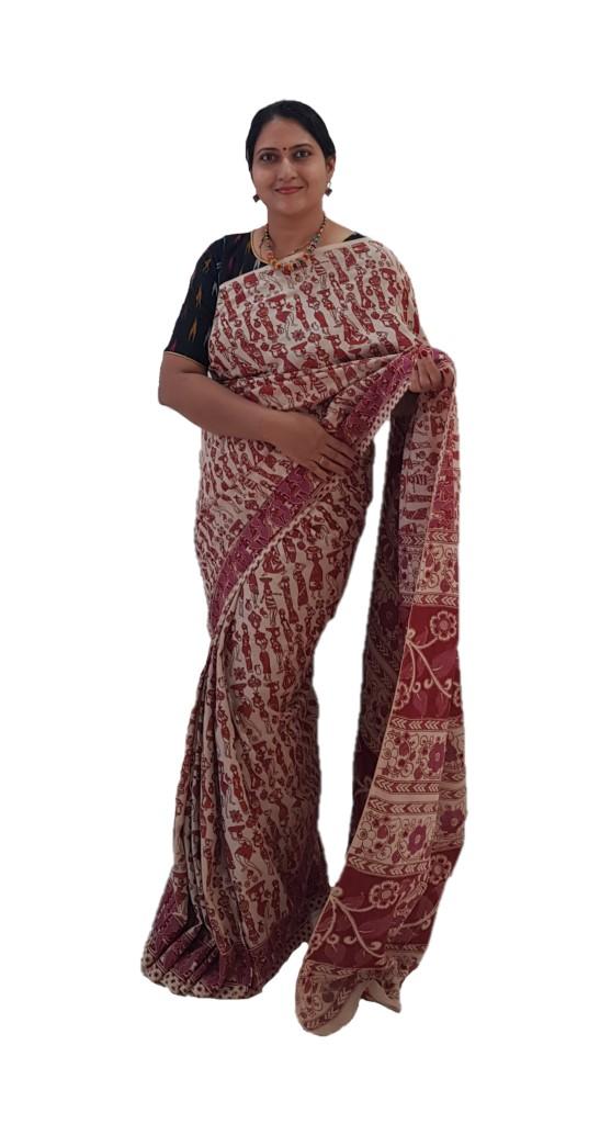 Kalamkari Print Cotton Silk People Art Design Saree OffWhite Pink : Picture