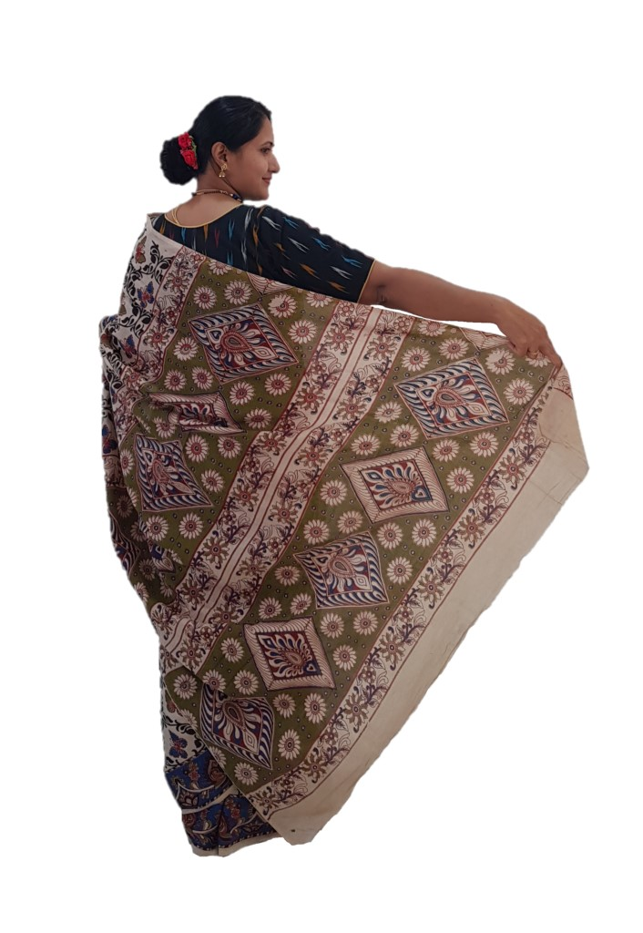 Kalamkari Print Cotton Silk Butterfly Design Saree OffWhite Blue : Picture