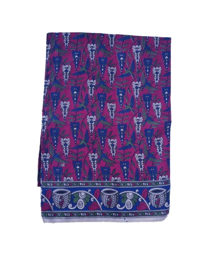 Kalamkari Print Cotton Silk Parrot Crops Design Saree Deep Pink : Picture