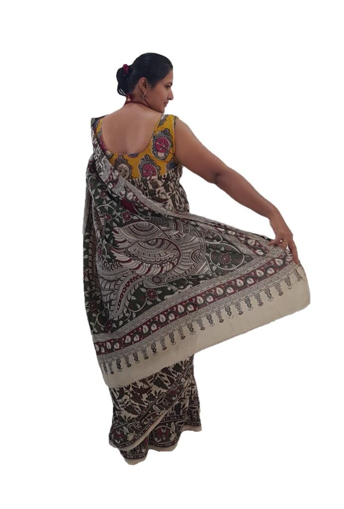 Kalamkari Print Cotton Silk Parrot Crops Design Saree OffWhite Green : Picture