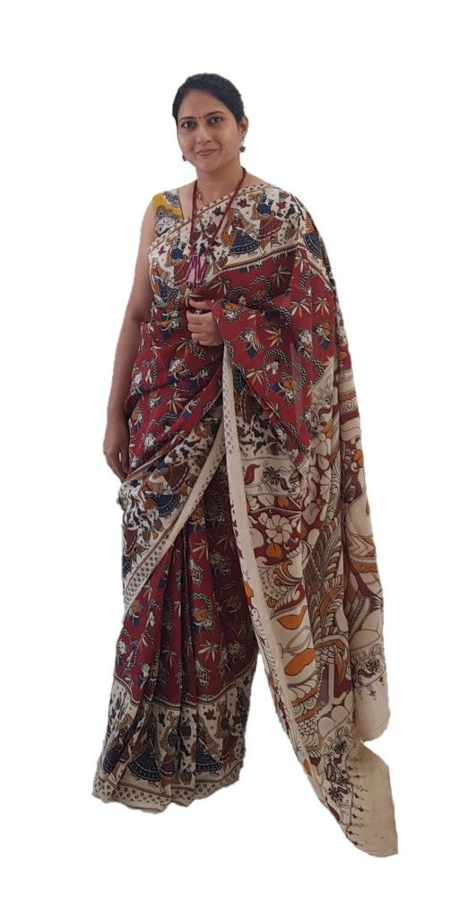 Kalamkari Print Cotton Silk Hearts Design Saree Dark Red  : Details