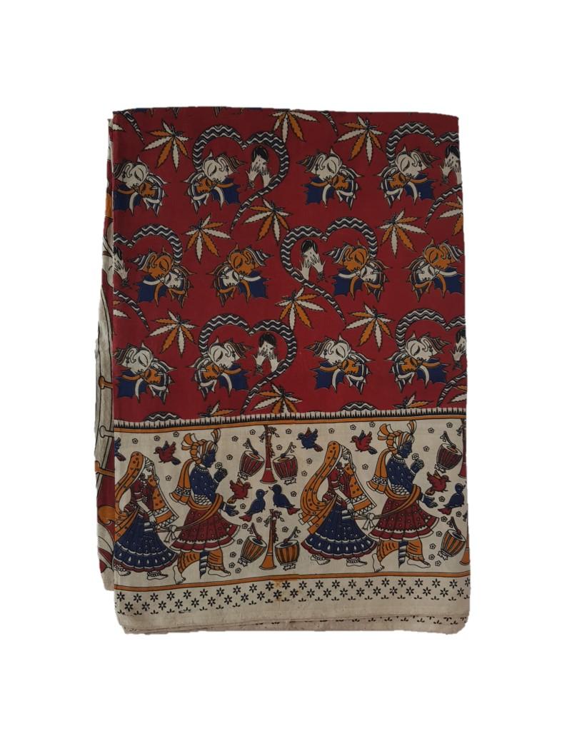 Kalamkari Print Cotton Silk Hearts Design Saree Dark Red  : Picture