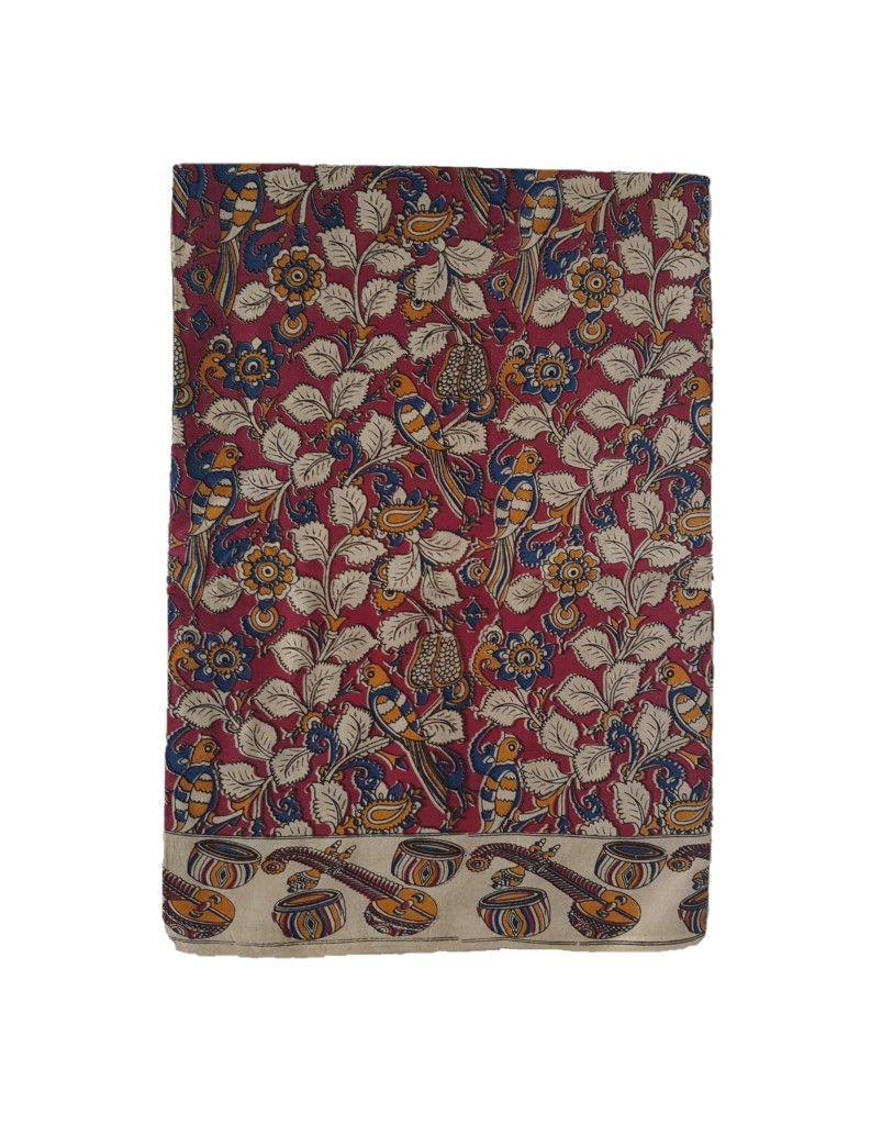 Kalamkari Print Cotton Silk Parrot Leaf Veena Border Saree OffWhite Red : Picture