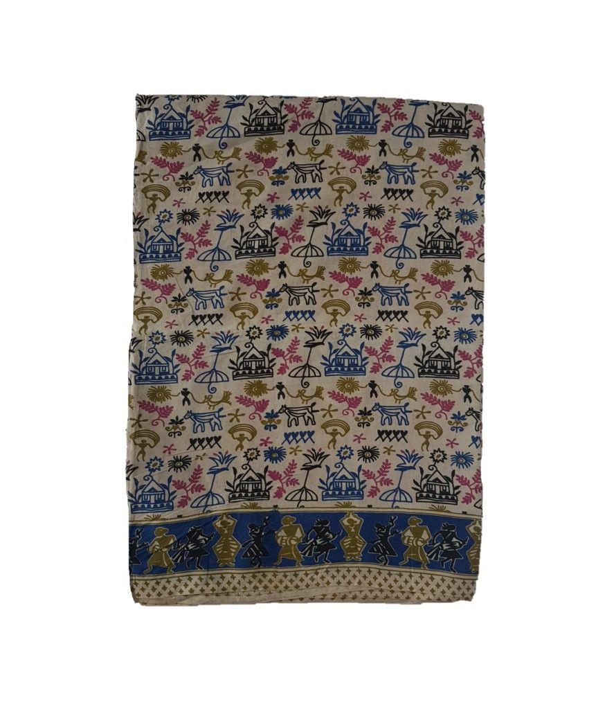 Kalamkari Print Cotton Silk Cave Art Design Saree OffWhite Blue : Details