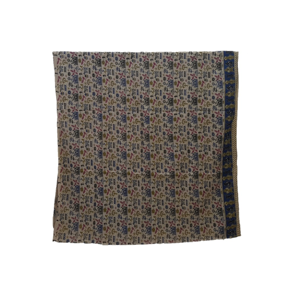Kalamkari Print Cotton Silk Cave Art Design Saree OffWhite Blue : Picture