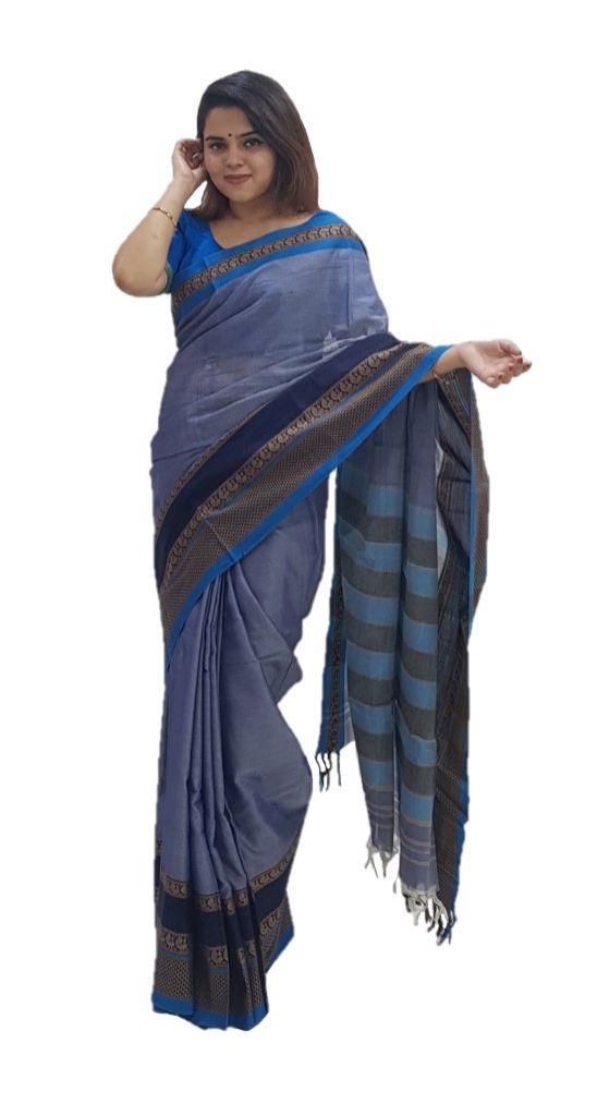 Narayanpet Handloom Pure Cotton Double Peacock Border Saree Light Blue : Details