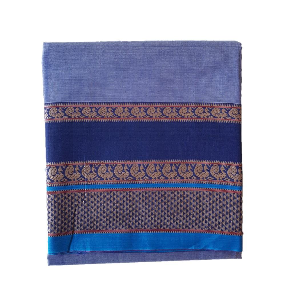 Narayanpet Handloom Pure Cotton Double Peacock Border Saree Light Blue : Picture