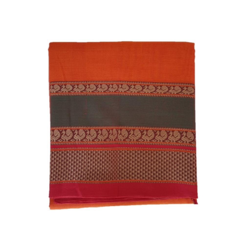 Narayanpet Handloom Pure Cotton Double Peacock Border Saree Deep Orange : Picture