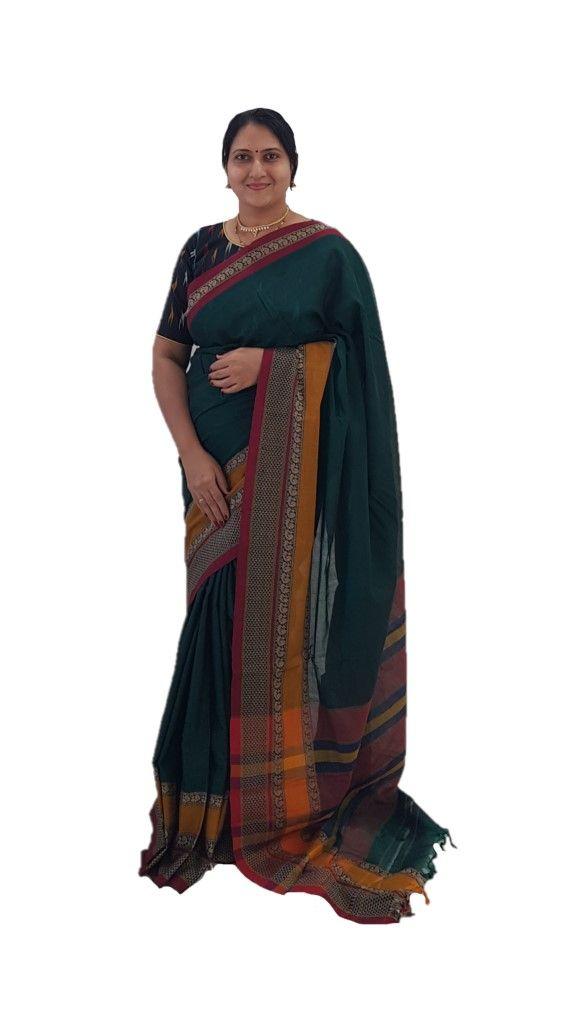 Narayanpet Handloom Pure Cotton Double Peacock Border Saree Green Yellow : Details
