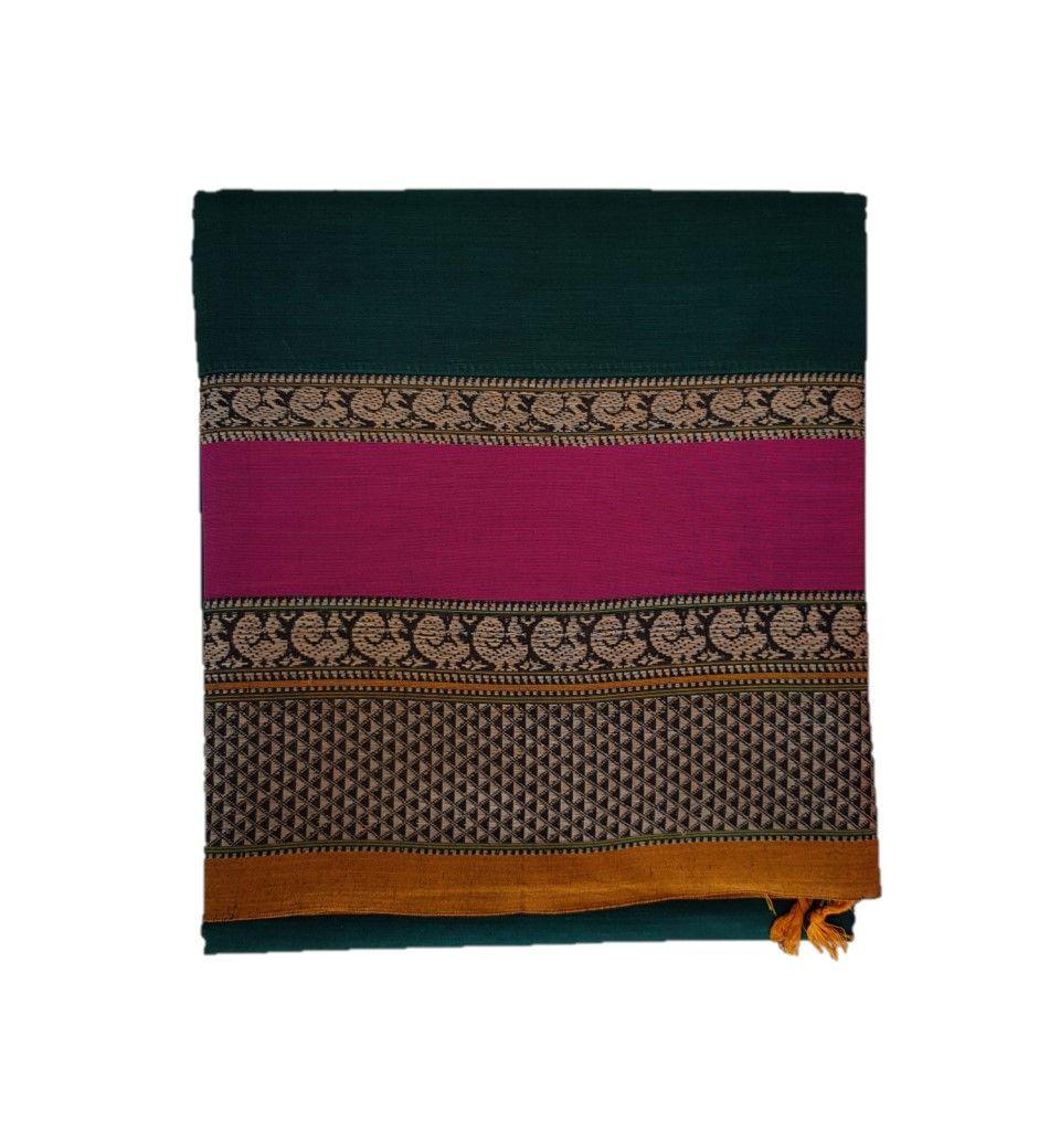 Narayanpet Handloom Pure Cotton Double Peacock Border Saree Green Pink : Details