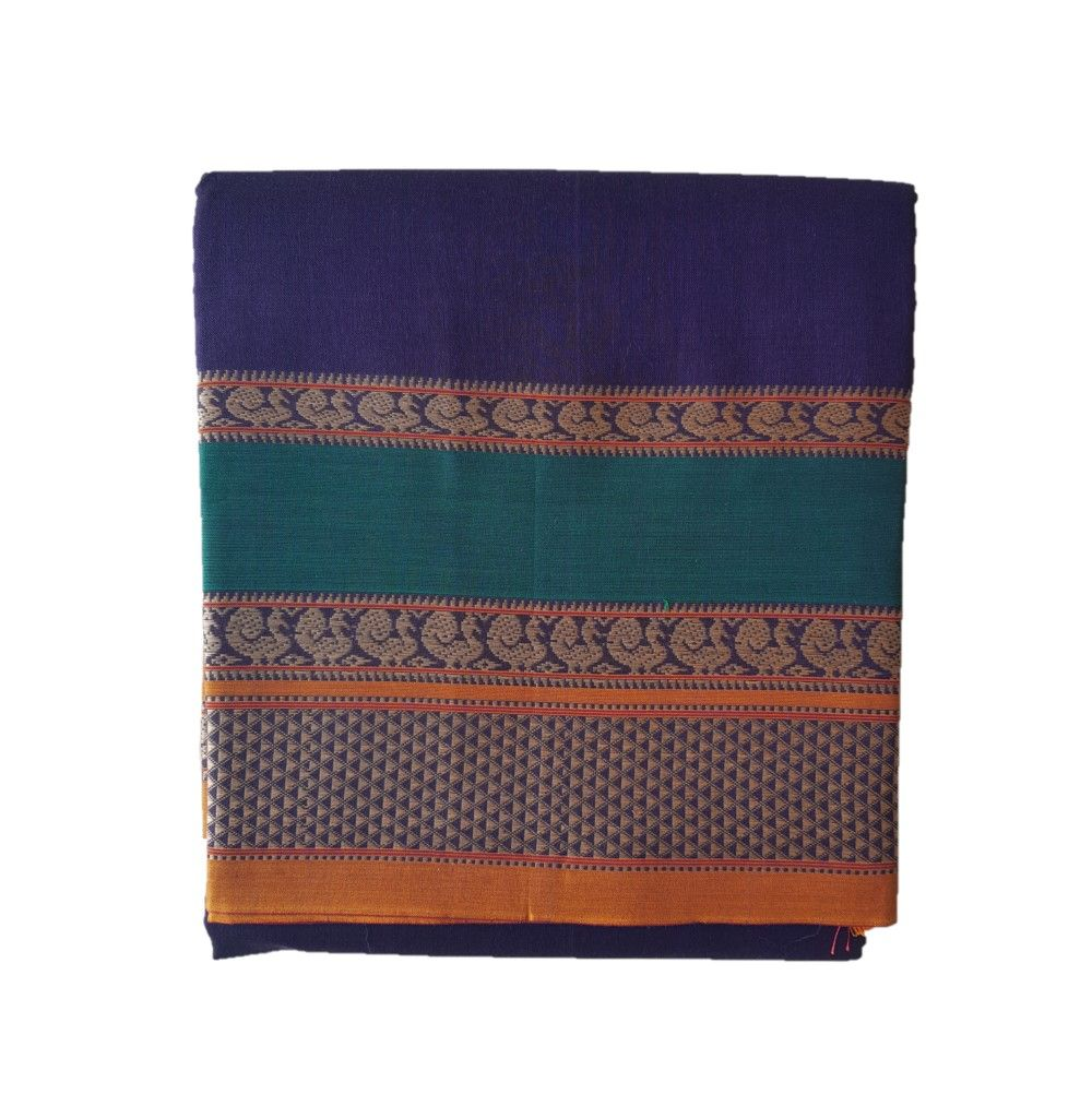 Narayanpet Handloom Pure Cotton Double Peacock Border Saree Violet : Details