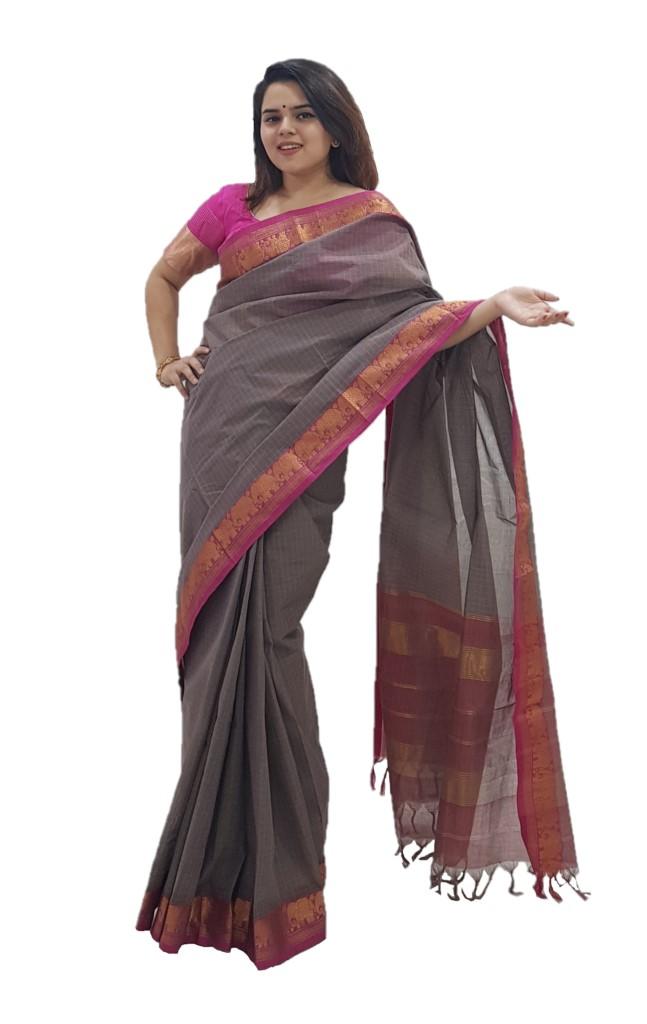 Narayanpet Handloom Pure Cotton Zari Checks Saree Ash Grey Pink : Picture