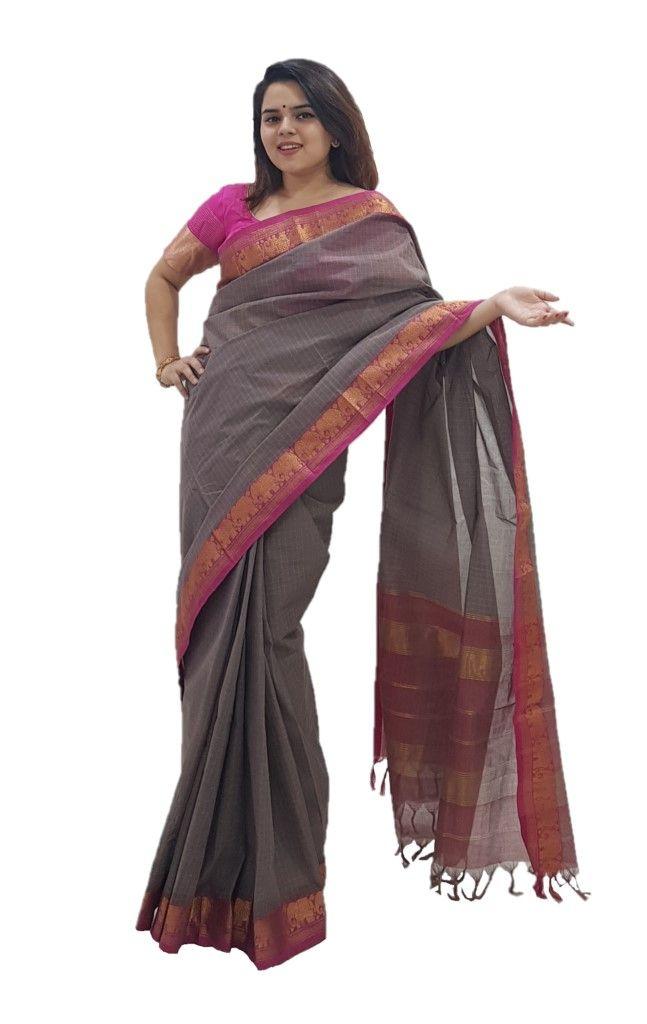 Narayanpet Handloom Pure Cotton Zari Checks Saree Ash Grey Pink : Details