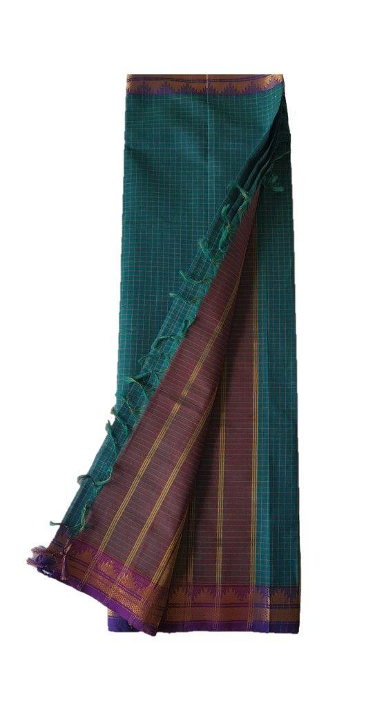 Narayanpet Handloom Pure Cotton Zari Checks Saree SeaGreen Violet : Details