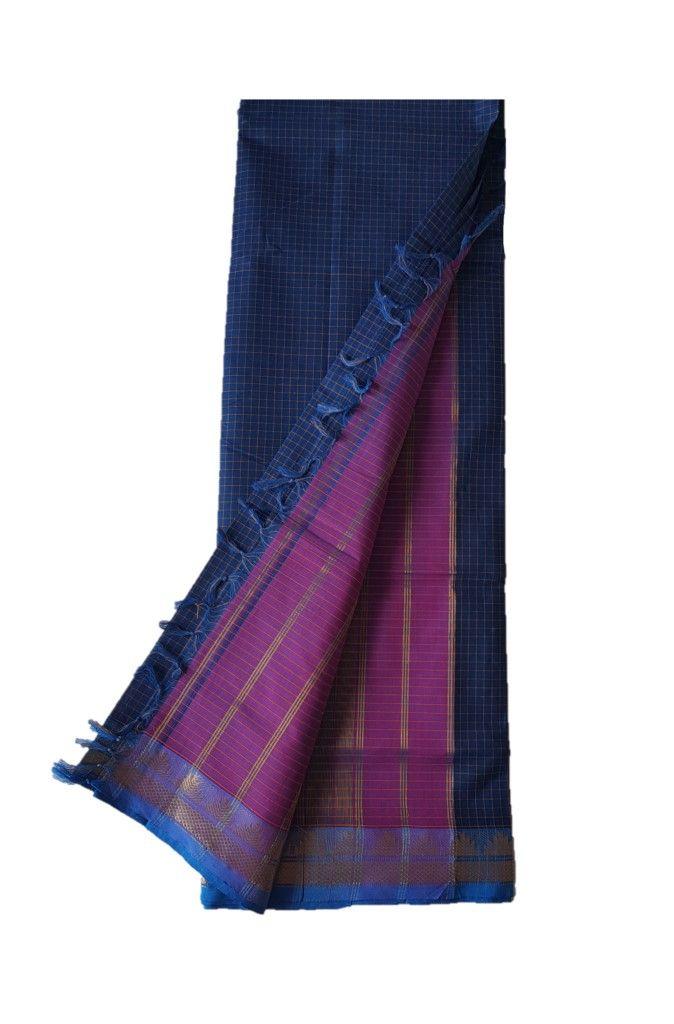 Narayanpet Handloom Pure Cotton Zari Checks Saree NavyBlue : Details