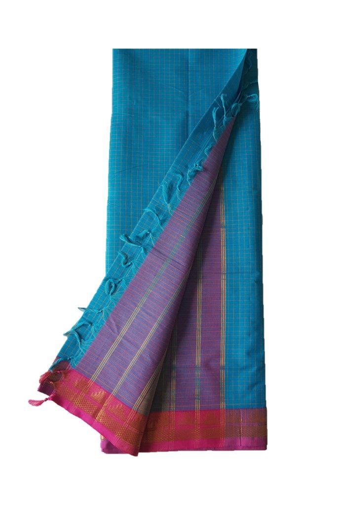 Narayanpet Handloom Pure Cotton Zari Checks Saree TurquoiseBlue Pink : Picture