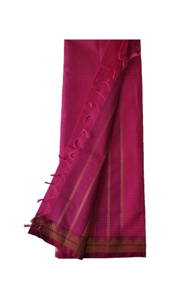 Narayanpet Handloom Pure Cotton Zari Checks Saree AboliPink Red : Details