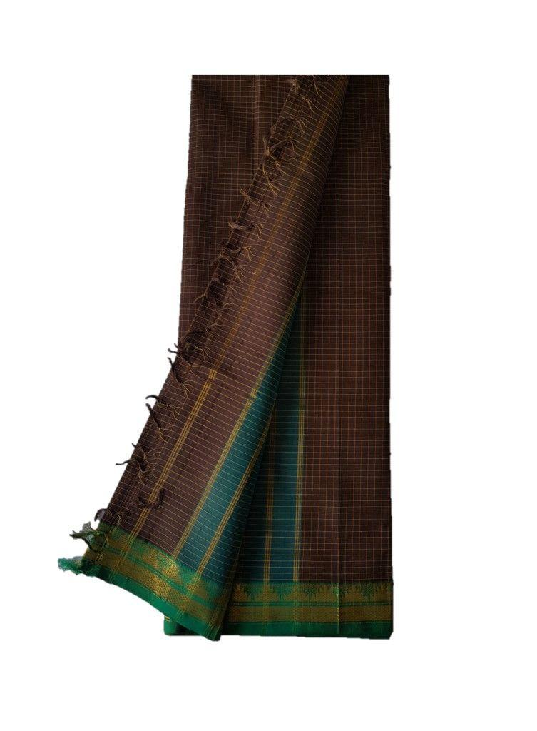 Narayanpet Handloom Pure Cotton Zari Checks Saree ChocoBrown Green : Details