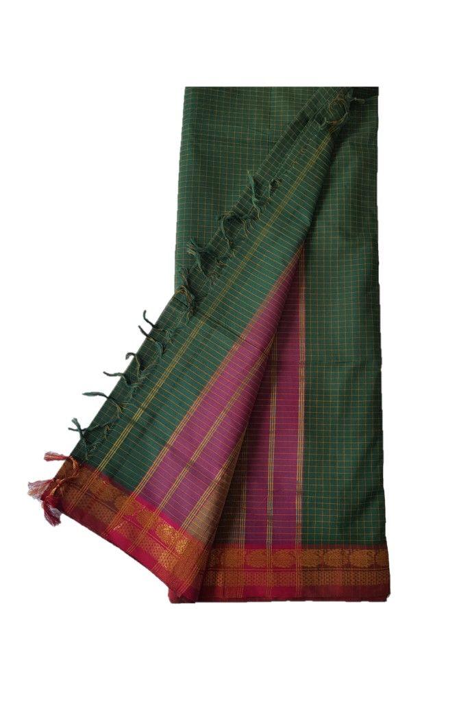 Narayanpet Handloom Pure Cotton Zari Checks Saree DarkGreen Red : Details