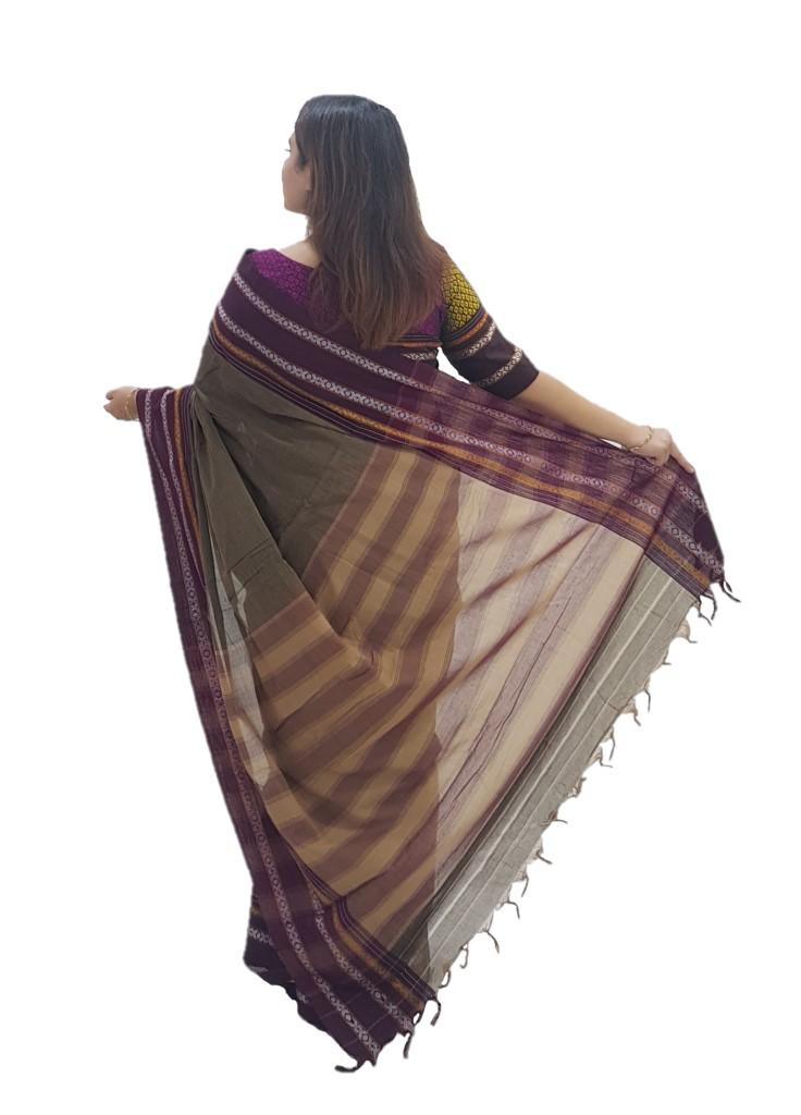 Narayanpet Handloom Pure Cotton Khun Border Saree Umber Wine : Picture