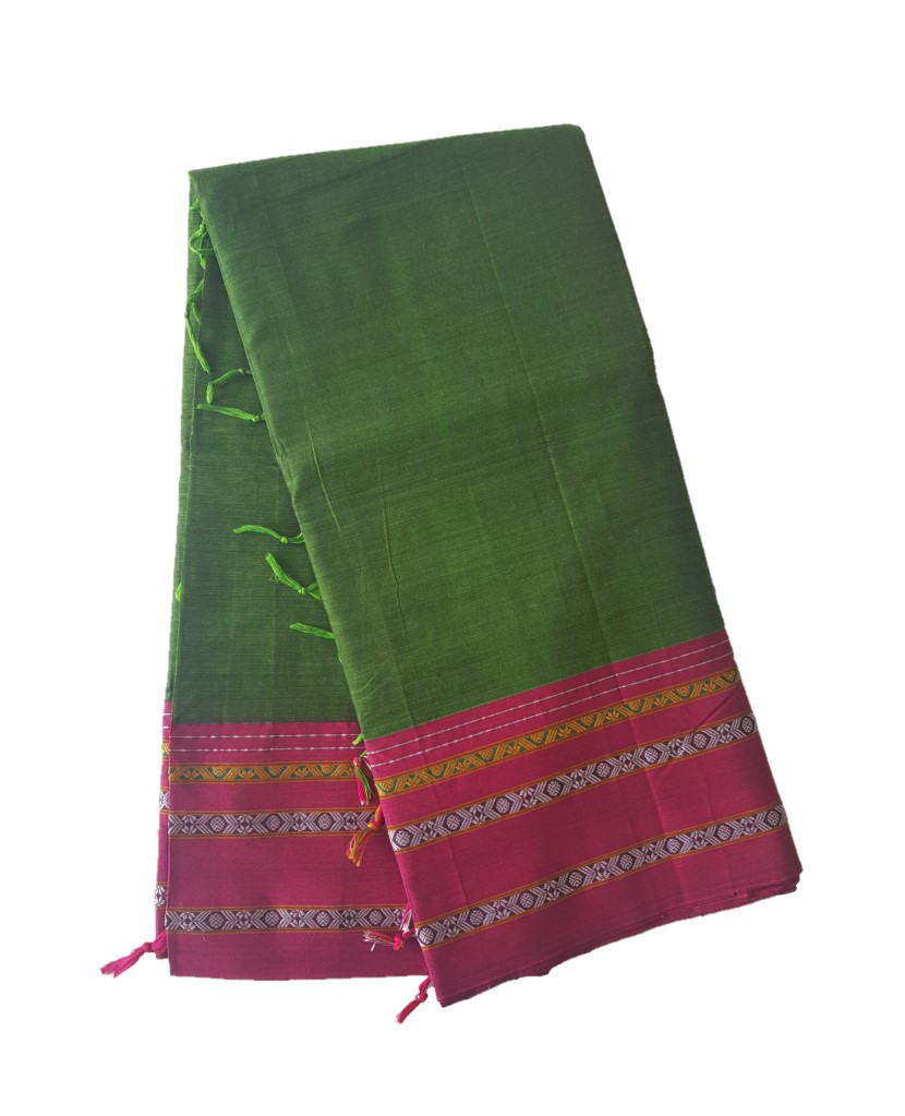 Narayanpet Handloom Pure Cotton Khun Border Saree Green Pink : Picture