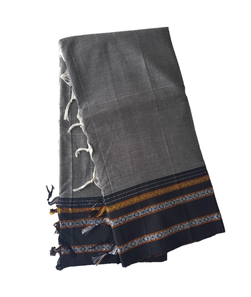 Narayanpet Handloom Pure Cotton Khun Border Saree Grey Black : Picture