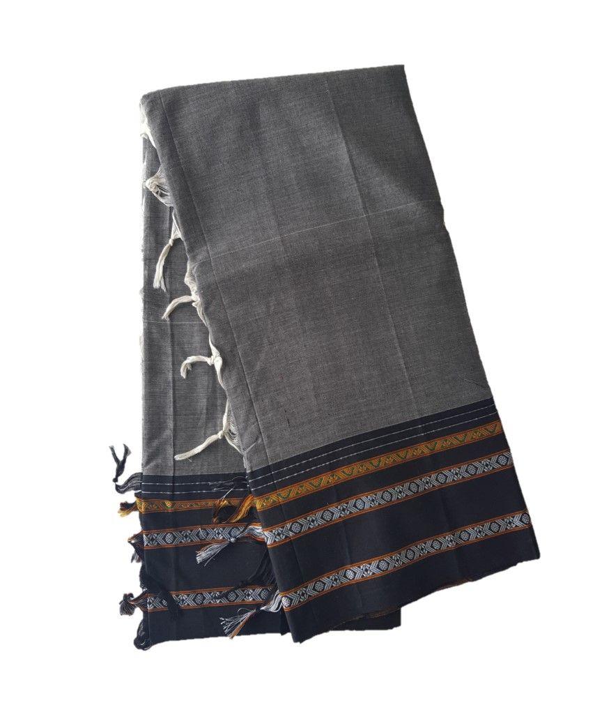 Narayanpet Handloom Pure Cotton Khun Border Saree Grey Black : Details