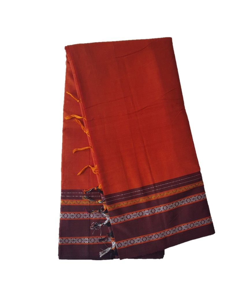Narayanpet Handloom Pure Cotton Khun Border Saree DeepOrange : Details