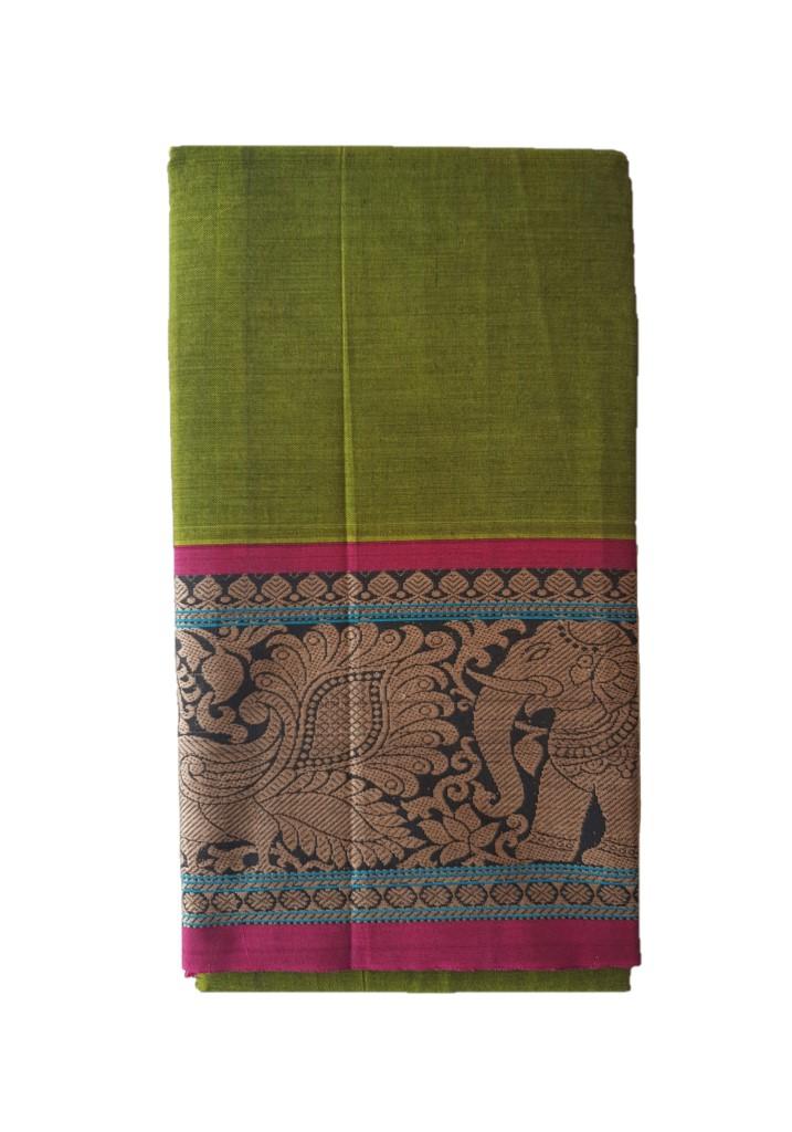 Narayanpet Handloom Pure Cotton Big Jacguard Border Saree Olive Green : Picture