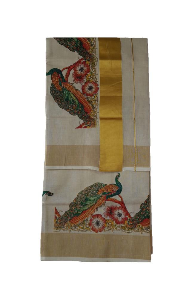 Kerala Kasavu Tissue Cotton Peacock Plumage Mural Printed Saree OffWhite Gold : Picture