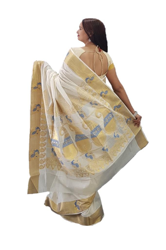 Kerala Kasavu Cotton Peacock Border Colour Leaf motifs Saree OffWhite Blue : Picture