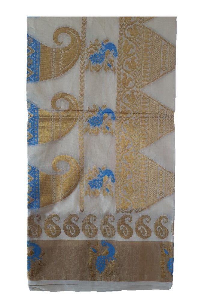 Kerala Kasavu Cotton Peacock Border Colour Leaf motifs Saree OffWhite LightBlue  : Details