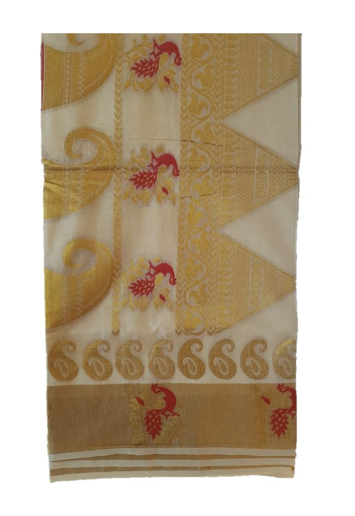 Kerala Kasavu Cotton Peacock Border Colour Leaf motifs Saree OffWhite Pink : Details
