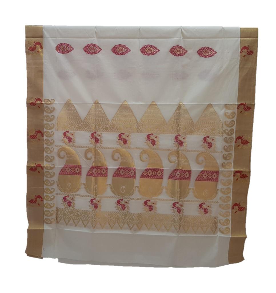Kerala Kasavu Cotton Peacock Border Colour Leaf motifs Saree OffWhite Pink : Picture