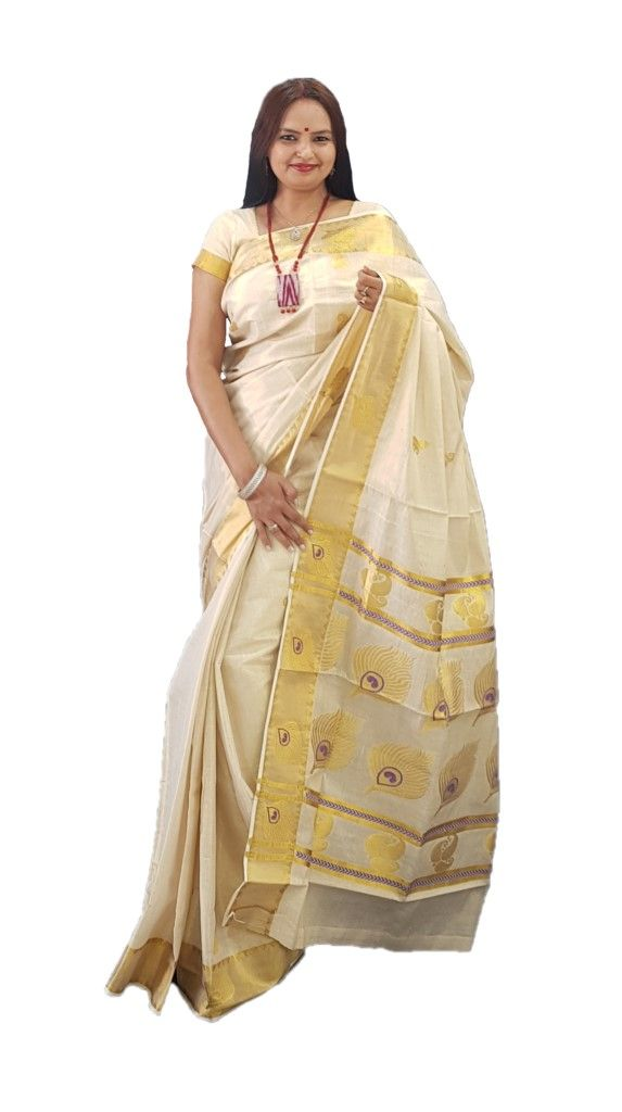 Kerala Kasavu Tissue Mango and Peacock Feathers Saree Offwhite Gold Violet : Details