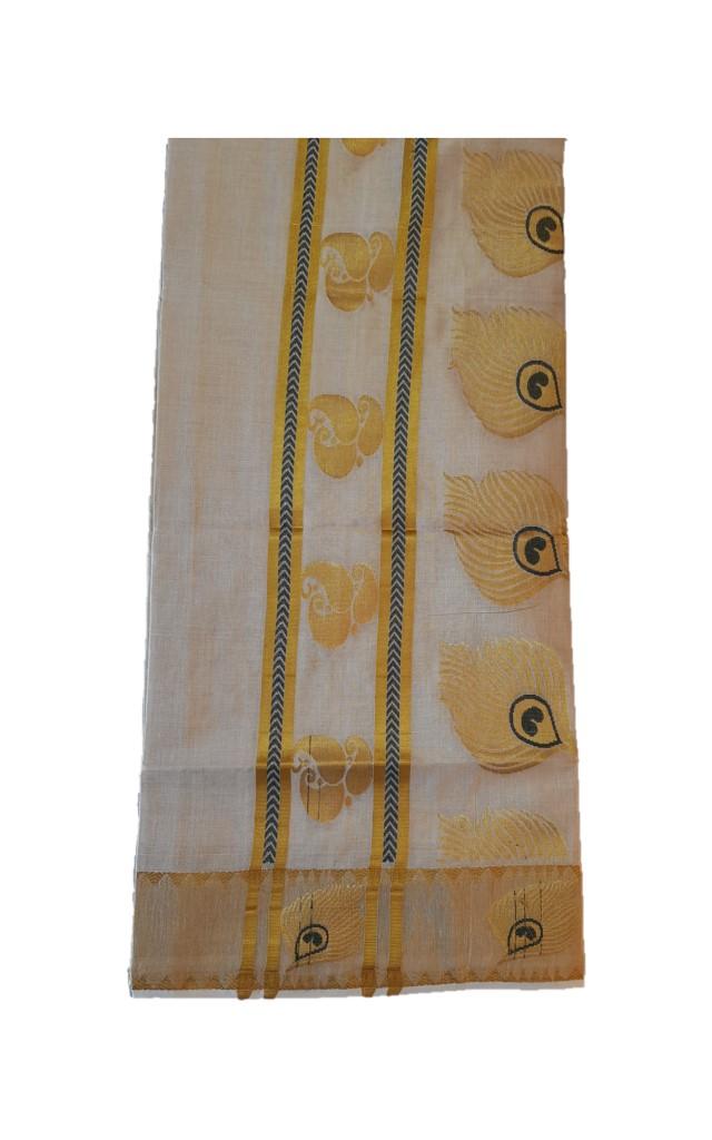 Kerala Kasavu Tissue Mango and Peacock Feathers Saree Offwhite Gold Greenish Black : Picture