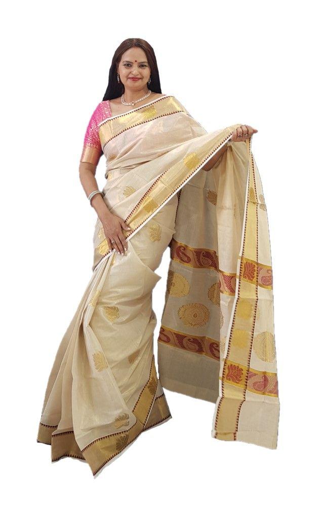 Kerala Kasavu Tissue Cotton Jari Work Saree Offwhite Gold Red : Details