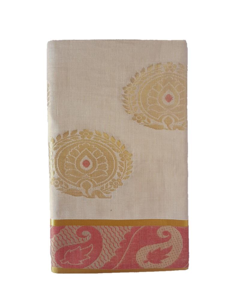 Kerala Kasavu Tissue Cotton Jari Work Saree Offwhite Gold Red : Picture