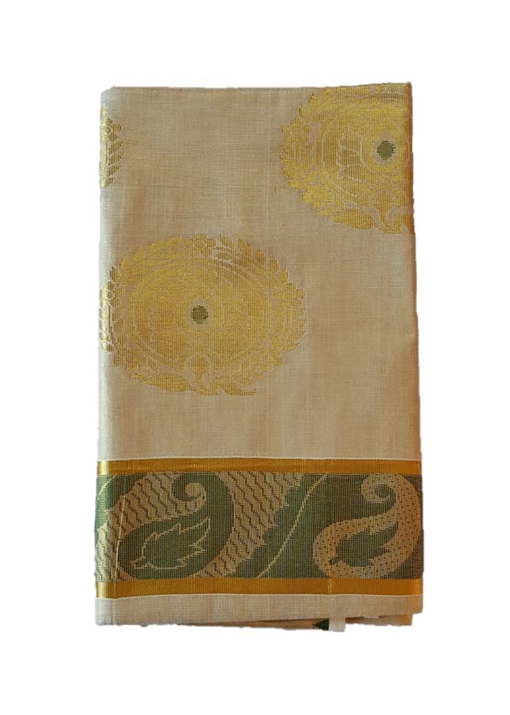 Kerala Kasavu Tissue Cotton Jari Work Saree Offwhite Gold Green : Picture