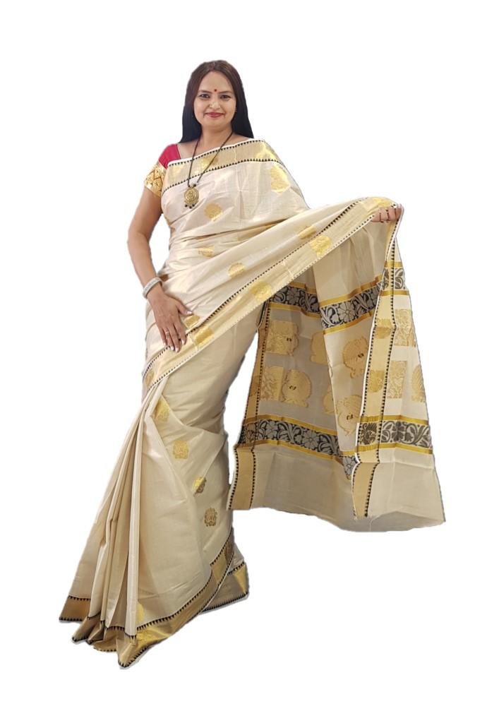 Kerala Kasavu Tissue Cotton Jari Work Saree Offwhite Gold Black : Picture