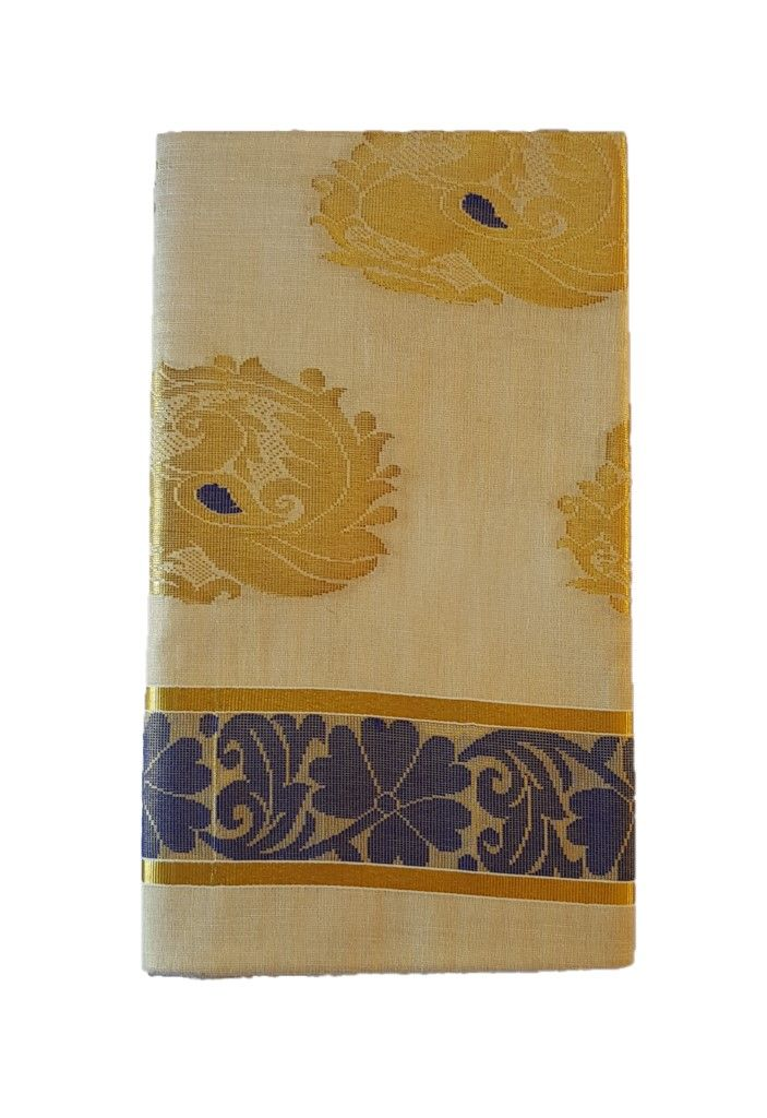 Kerala Kasavu Tissue Cotton Jari Work Saree Offwhite Gold DarkBlue : Picture