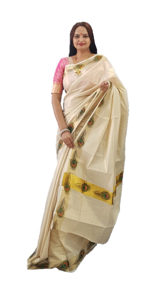 Kerala Kasavu Tissue Cotton Peacock Feathers Mural Printed Saree OffWhite Gold  : Picture