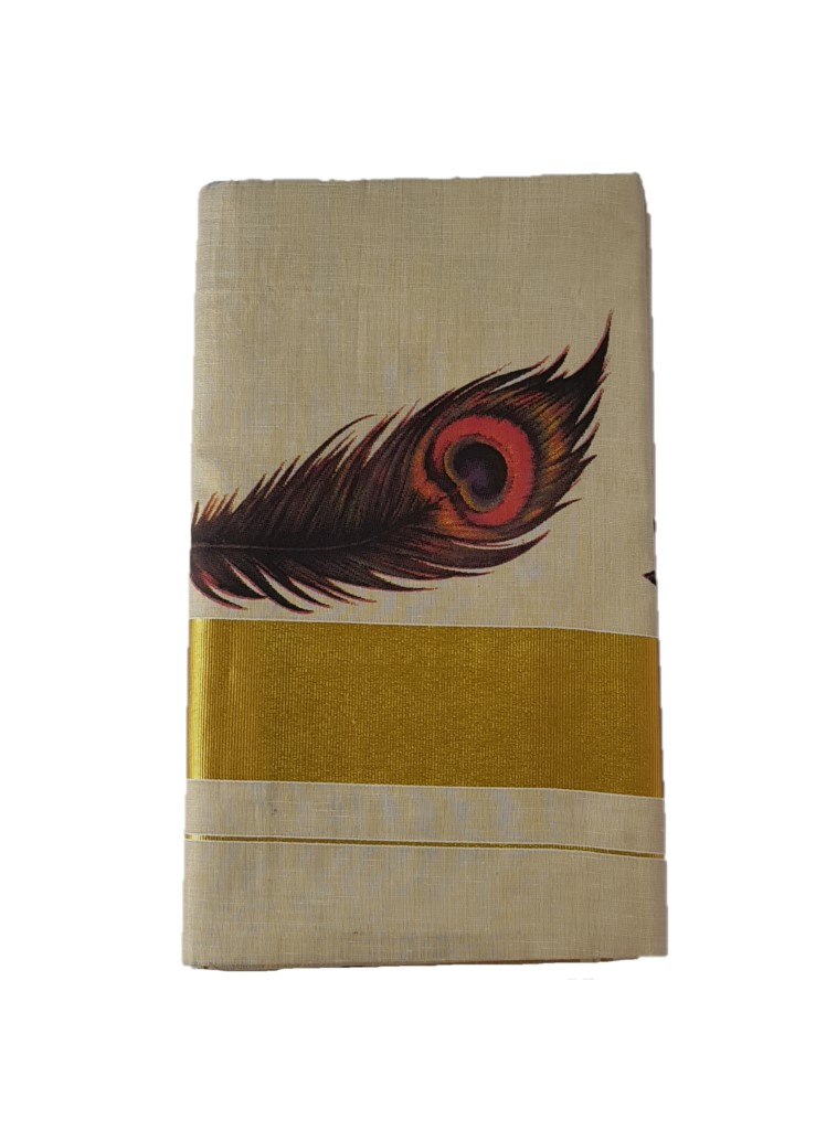 Kerala Kasavu Tissue Cotton Red Peacock Feathers Mural Printed Saree OffWhite Gold : Picture