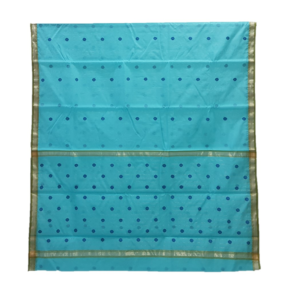 HandWoven Chanderi Pure Silk Cotton Butti Work Saree Turquoise Blue : Picture