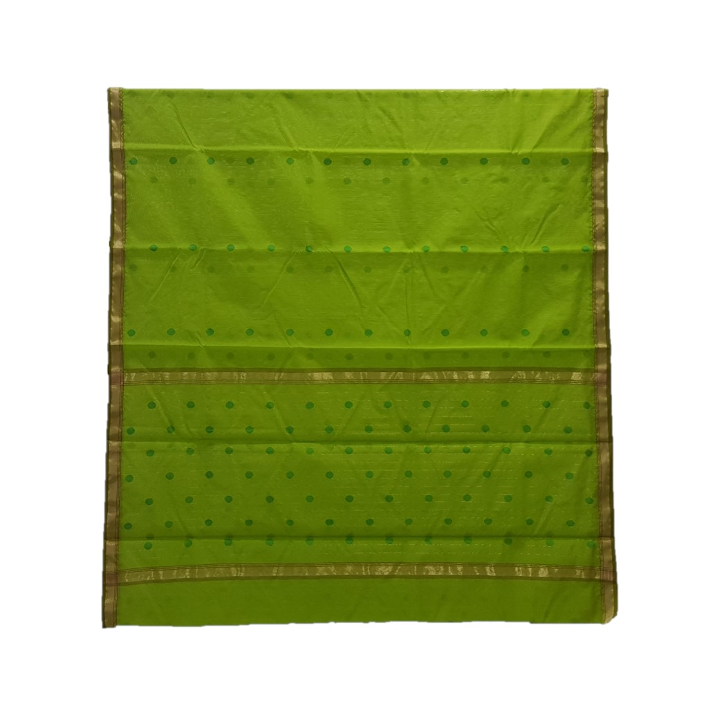 HandWoven Chanderi Pure Silk Cotton Butti Work Saree Mehendi Green : Picture